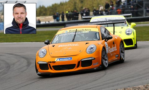 FARTSFYLT HOBBY: Roger Hermansen fra Skien har alltid hatt interesse for bil. Nå konkurrerer han i Porsche Carrera Cup Skandinavia. Foto: Racefoto.se