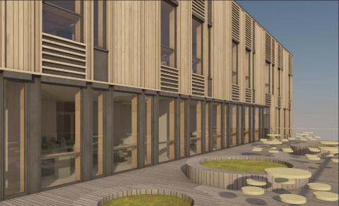 NY SKOLE: Den nye videregående skolen i Bamble blir 60 millioner kroner dyrere enn planlagt.