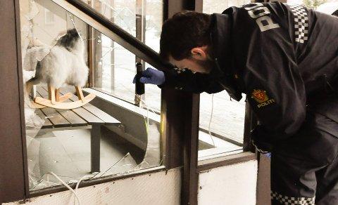 INNBRUDD: Vinduet i inngangsdøren ble knust av tyvene - og på glass-skårene fant politiet både sålemønster og fiber fra tiltaltes sko og genser. Foto:Jens Marius Hammer