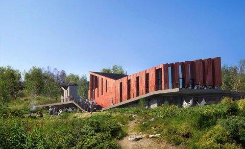 FORSLAG: Arkitektfirmaet Snøhetta har laget  denne skissa av den nye turisthytta på Mogen. Hvis DNT Telemark lykkes vil hytta stå ferdig i 2023-2025.  Foto: Snøhetta