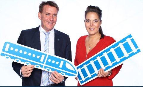 GRUNN TIL JUBEL: Lene Westgaard-Halle og Kårstein Eidem Løvaas er mer enn fornøyde med toggjennombruddet i NTP.