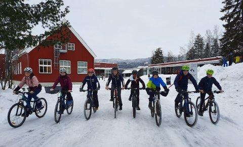 SPORTY I KULDA: De åtte sjuendeklassingene på Hagen skole som sykler to til fire kilometer hver dag for å komme på skolen, sommer som vinter; f.v. Malin, Kaia, Hedda, Tyra, Hilmar, Andreas, Jesper og Cornelius.