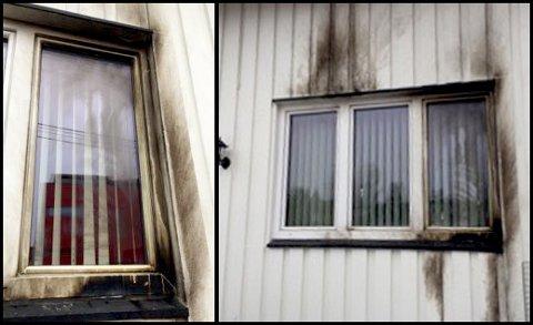 BRANNSKADER: Bilder fra stedet viser at boligen har fått tydelige skader etter flammer og varme. Politiet mistenker at noen har kastet en såkalt molotovcoctail mot huset.