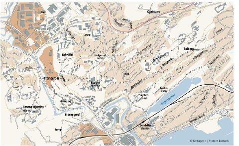 SANDVIKA: – For Bærum kommune bør det ligge store muligheter i å videreutvikle Sandvika til et byområde med høyere bebyggelse og økt fortetting, særlig på nordsiden av stasjonen, skriver innsenderen.