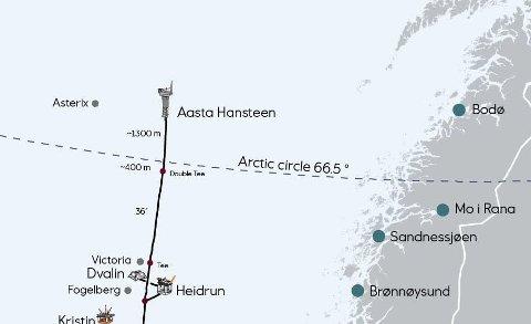 Aasta Hansteen og Polarled: Basefunksjonene ligger i Sandnessjøen og Brønnøysund. Selve plattformen ligger ca. 300 km vest for Bodø. Kart: Equinor