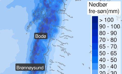 Yr.nos kart over hvor det er ventet nedbør fra natt til fredag av.