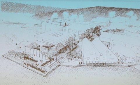 Skisse: Dette er en tegning som Rennesøy Høyre fikk laget da nabosamtaler med Stavanger og Finnøy startet for rundt fem år siden, og som viser tanker om blant annet et nytt kommunalt bygg på kaiområdet i Vikevåg sentrum.