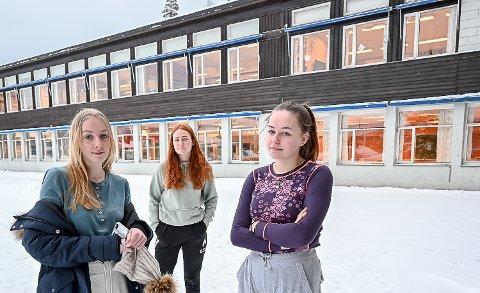 FORTVILER: Kari Ask Nore, Thea Emilie Høgli og Sara Sandstrand ved Krøderen Skole, kommer ikke inn ved Ringerike videregående skole uten de nødvendige nærskolepoengene. Om de ønsker å ta studiespesialisering neste skoleår, må de derfor gå på Buskerud videregående skole i Åmot.