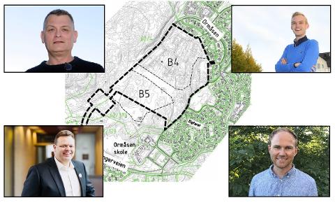 NEI TIL UTBYGGING: Opposisjonen vil gå inn for å stoppe den foreslåtte utbyggingen på B4 og B5 på Ormåsen når denne saken kommer opp til behandling i 2021. F.H: Trond Bermingrud (Frp), Adrian Wilhelm Kjølø Tollefsen(H), Kjell Erland Grønbeck (KrF) og Andreas Størdal (Venstre).