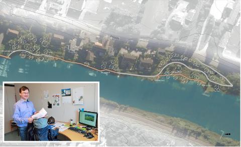 ILLUSTRASJONSPLAN: Tilgang til nærturområder der folk bor, er en nøkkel for mange for å kunne bedrive fysisk aktivitet. Målet er å utvikle et finmasket nettverk og koblinger av turveier, stier og gangveier i sentrum vil det gis gode turmuligheter for alle.