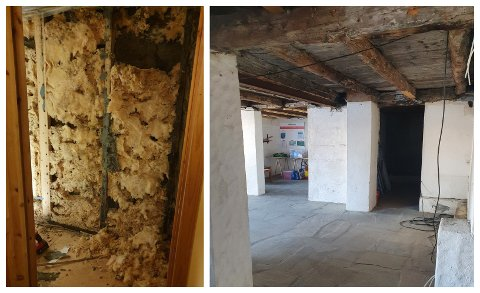 FUKT: Renovasjonsarbeid avdekka vesentlege råteskader i kjellaren på Borga. Det historiske bygget over er ikkje råka av skadane.