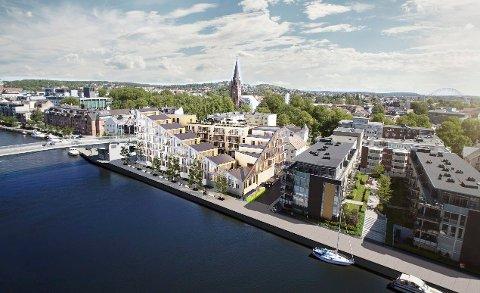 Store planer: Slik blir det på brygga, inn mot Kråkerøybrua. Det blir et betydelig antall leiligheter.