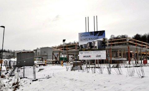 KLARE TIL VÅREN: Funkishusene i Inger Alva Gløersens vei er snart innflyttingsklare. Det er fortsatt delte meninger om byggestilen.