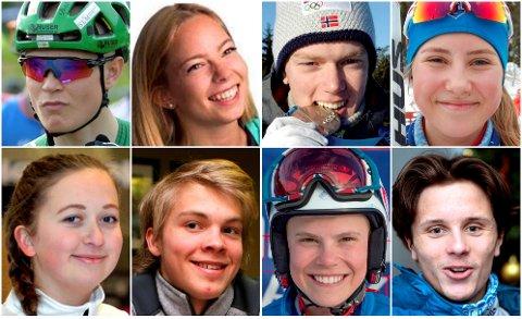 KANDIDATENE: Øverst f.v.: Petter Fagerhaug, Elise N. Barben, Sivert G. Bakken, Emma Mallaug. Nederst f.v.: Martine V. Rønning, Lars Ivar Skårset, Andreas Amdahl, Jesper Ødegaard.