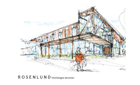 Dette er arkitektskissen som viser hvordan gårdeier i Gudbrandsdalsvegen 187 ønsker å utvikle eiendommen hvor kommunen skal ha dagsenteret sitt. Illustrasjon LPO arkitekter.