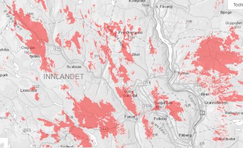 Dette er områdene som er uten mobildekning i Gausdal og Øyer torsdag ettermiddag.