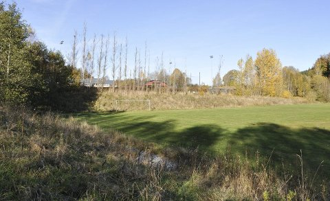TOMTA: I dette området, fra gressbanen mot Risum ungdomsskole (i bakgrunnen) er skolen planlagt å ligge. Nå ser man på hvilke muligheter tomta gir.