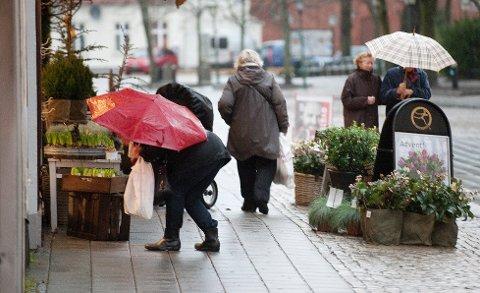 FINN FRAM PARAPLYEN: Det kommer til å bli en periodevis våt uke og helg i Halden. Arkiv