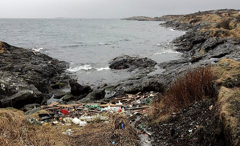 Mange steder langs havet har behov for en skikkelig opprydding. Her et arkivbilde fra en vik mellom Kvalsvik og Killingøy i Haugesund. Arkivfoto: Kjell Strand