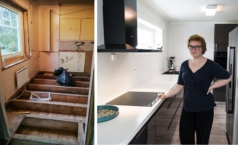 FORANDRING FRYDER: Forskjellen fra Arnhild Hegges tidligere kjøkken og hennes nye er stor. – Kjøkkenet er jeg aller mest fornøyd med, sier hun.