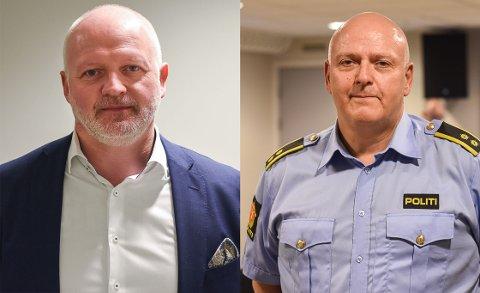 TRUSSELVURDERING: Sjef for Politiets Sikkerhetstjeneste (PST) i Finnmark, Lars Gaupset (t.v.) og seksjonsleder for felles etterforskning i Finnmark Politidistrikt, Kenneth Nilsen.