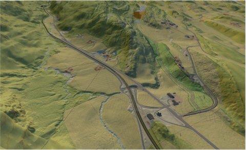 I RAUDALEN: Massedeponiet, som er tiltenkt rene overskuddsmasser fra prosjektet Ny E6 mellom Stjørdal og Åsen, er tenkt plassert i Raudalen (mørkerødt område i øvre del av bildet). Skissen viser Vuddudalen i front. Skissen er laget mot vest.