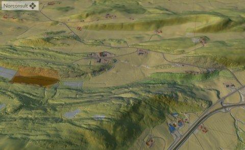 I RAUDALEN: Massedeponiet er tenkt plassert i Raudalen (mørkerødt område i øvre del av bildet). Bildet viser Vuddudalen i nedre høyre hjørne. Skissen viser landskapet mot nord.