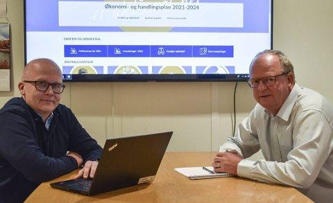 Økonomiplanen: Økonomisjef Ole Grinde og kommunedirektør Ragnar Sundklakk foreslår eiendomsskatt i Horten kommune fra 2021. Foto: Gjengangeren