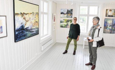 SÅ BLE DET UTSTILLING: Eli Hoff (t.h.) var blant de besøkende da Anne Grethe Ellingsen og Holmestrand kunstforening lørdag kunne åpne medlemsutstillingen som egentlig skulle vært vist i mars. ALLE FOTO: BJØRN TORE BRØSKE