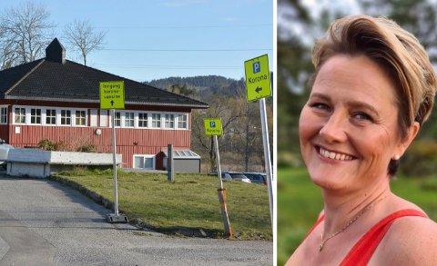 Vaksinekoordinator Hege Sortedal forteller om en god progresjon hos vaksinesenteret på Kalstad.
