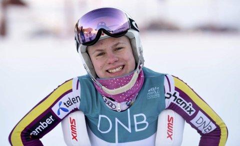 PÅ PALLEN: Anine Thoresen, KIF, ble nummer tre i FIS-rennet i storslalåm io Sverige søndag.