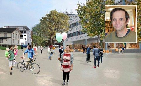 Ønsket torg: Dette er noe av de planene Ticon lanserte i 2013, hvor biblioteket er på bakkeplan og parkeringen er et torg.