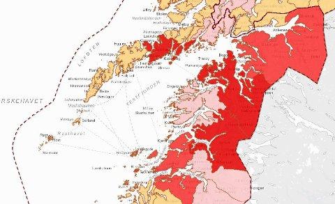 Mye rødt: Tallene fra Folkehelseinstituttet danner grunnlaget for Smittedashbordet, der det gjelder å ha så svak rødfarge som mulig, og aller helst gul-oransje. Som vi ser er det rødt i Vågan og på innlandet.