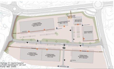 Leknes Handelspark Sørvest, slik det ser ut i planforslaget.