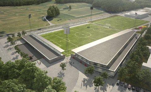 SETT OVENFRA: Fotballstadionet har vært i bruk i flere år, nytt bygg og tribune vises her i grått. Illustrasjon: LPO