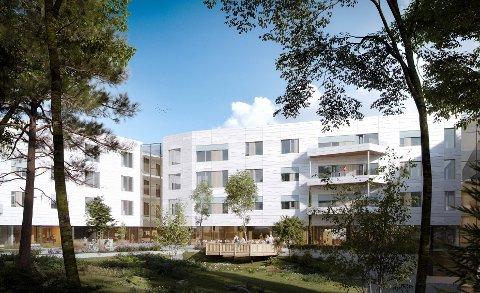 SLIK KAN DET BLI: Skisse av nytt sykehjem på Lambertseter sett fra hagen/sør. Illustrasjon: Omsorgsbygg