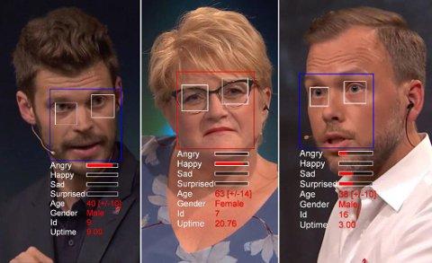 STRESSANALYSE: En tysk psykolog har analysert følelsene til norske politikere under en partilederdebatt. Montasje: NRK/Nettavisen