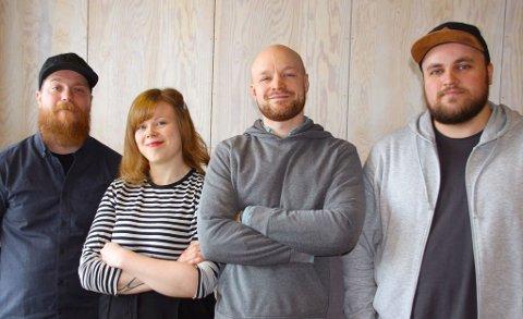 fra venstre: Guttorm Sørensen, Kristine Marie Børresen, Egil Bye Damsgård, Isak Harbitz. Foto: Bukta