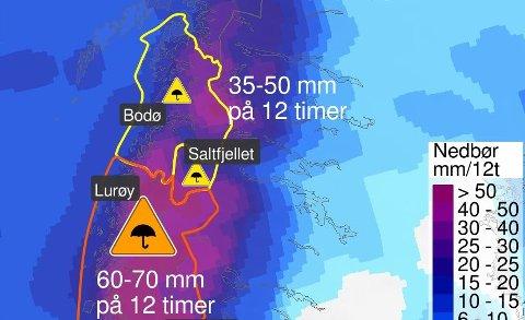 MYE REGN: Mandag vil det komme store nedbørsmengder i Nordland. Også Troms og Vest-Finnmark vil merke lavtrykket godt. Illustrasjon: Meteorologisk institutt