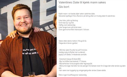 JAKTER KJÆRLIGHET: I Finn-annonsen beskrives Nico Åland som en «kjekk mann i sin beste alder». Selv om annonsen kom overraskende på lover han å stille på date.