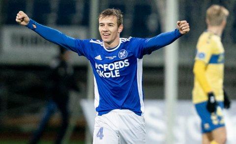 VREDE-GLEDE: Felix Vrede Winther jubler for seier over Brøndby i cupen i desember 2020. Nå ser midtbanespilleren ut til å kunne bli TIL-spiller.