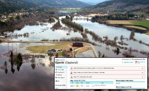 VÅTT – MEN OGSÅ VARMT OG TØRT: Tross at vannet fortsatt flommer mange steder er det samtidig utstedt varsel om stor skogbrannfare i distriktet.