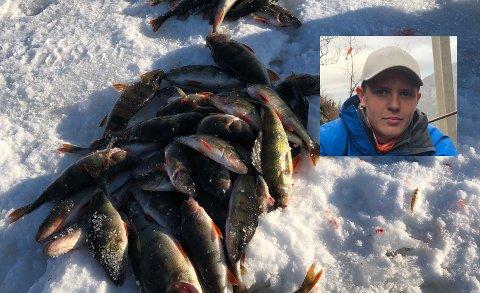 FISKELYKKE: 25 kilo abbor fisket Markus Wexel Nordraak (16) tilsammen med faren Hans Olav og kompisen Vemund Søhagen (16).