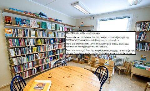 TRUET: Biblioteket i Stavern er viktig for mange. Nå hevdes det at det igjen er truet av nedlegging.