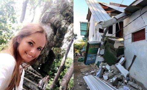 JORDSKJELVDRAMA: Kristina Simensen og ei venninne havnet midt i jordskjelv-dramaet i Indonesia. De kom uskadd fra dramaet. Foto: Privat