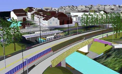 KRYSSING: Statens vegvesen har laget denne nye tegningen for kryssing av ny fylkesvei via gang- og sykkelvei i Slottsbrugate. Det skal bli g/s-vei fra Hovenga til det andre kryssingspunktet ved Elverhøy.