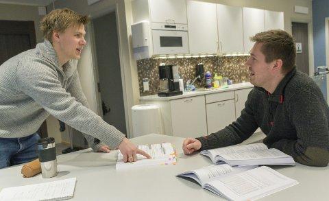Studiemiljø: Sondre Harald Laukholm (t.v.) og Remi Myrheim Djuplasti (t.h.) går på 3. og 2. året, men de samarbeider på tvers av kullene. – Vi har vært gjennom det de skal nå, sier Laukholm. Foto: Vegard Anders Skorpen