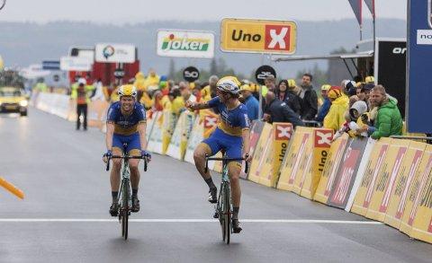 Team Ringeriks-Kraft har håp om å sikre seg to NM-medaljer i NM. Syver Wærsted (t.h.) er en av de store lokale håpene. Her er han sammen med Marius Hafsås.