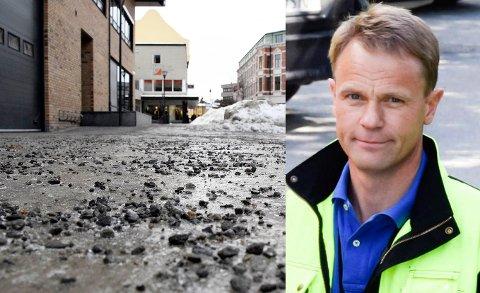 STRØING: – Det har ikke vært unormalt glatte veier i januar og februar. Men skiftet mellom regn og frost gjør vedlikeholdsbehovet større, konkluderer Morten Fagerås.