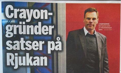 GRÜNDER: - Å samle kreftene på ett sted som Rjukan tror jeg gjør oss mer synlige enn om vi skulle vært et større miljø, sier Crayon-gründer Rune Syvertsen til Finansavisen (faksimile Finansavisen)